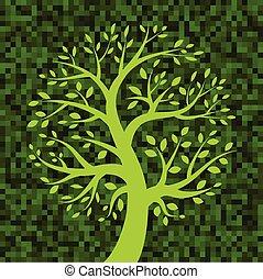 árvore verde, pixel, fundo, ícone