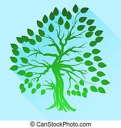 árvore verde, silueta
