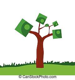 árvore, vetorial, arte, ilustração