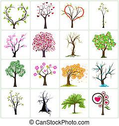 árvore, vetorial, desenho, ícones