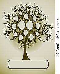 árvore, vetorial, desenho, família