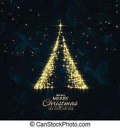 árvore, vetorial, desenho, fundo, faíscas, brilhante, natal