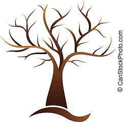 árvore, vetorial, elemento, logotipo, ilustração