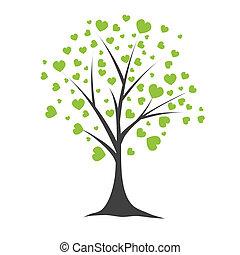árvore, vetorial, hearts., ilustração