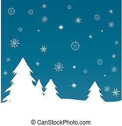 árvore, vetorial, illustration., fundo, natal