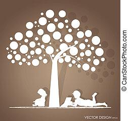 árvore., vetorial, illustration., ler, livro, fundo, sob, crianças