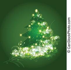 árvore, vetorial, ornamento, cartão natal