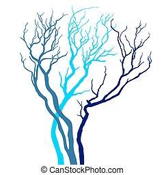 árvore, vetorial, silueta