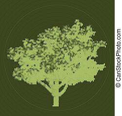 árvore., vetorial, verde, halftone