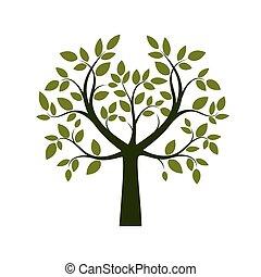 árvore., vetorial, verde, illustration.