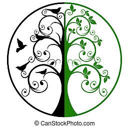 árvore vida, e, mortos