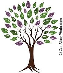 árvore, vida, jovem, image., healthy., felicidade, ícone, vetorial, conceito