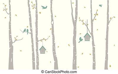 árvore vidoeiro, com, veado, e, pássaros, silueta, fundo