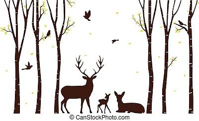 árvore vidoeiro, com, veado, e, pássaros, silueta, padrão