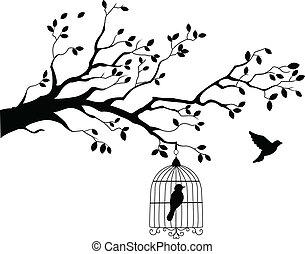 árvore, voando, silueta, pássaro