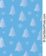 árvores abeto, e, snowflakes, fundo