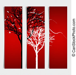árvores., abstratos, vetorial, illustration.