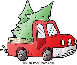 árvores, caricatura, pickup, carregar, caminhão, natal