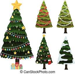 árvores, cinco, ornamentos natal