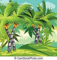 árvores., coco, selva, ilustração, criança