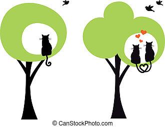 árvores, com, gatos, e, pássaros, vetorial