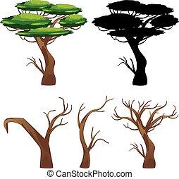 árvores, com, silhuetas