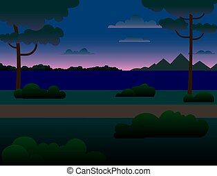 árvores, floresta, river., montanhas, rio, noturna, através, paisagem