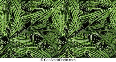 árvores, folhas, palma, seamless, fundo