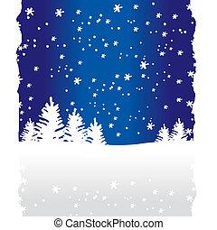 árvores, fundo, (vector), inverno