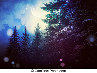 árvores, inverno, abeto, noturna, lua, crescente