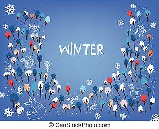 árvores, inverno, fundo, pássaros