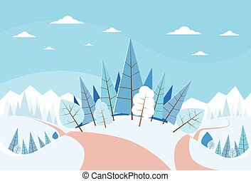 árvores inverno, neve, natal, paisagem, floresta, pinho, fundo, madeiras