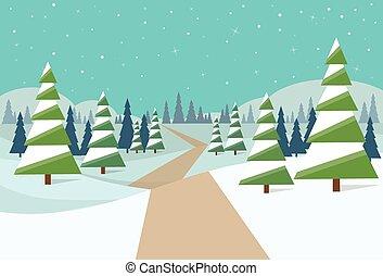 árvores inverno, neve, pinho, fundo, floresta, natal, paisagem