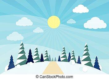 árvores inverno, neve, pinho, madeiras, floresta, natal, paisagem