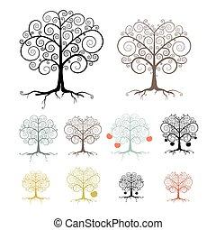 árvores, jogo, isolado, branco, fundo, -, abstratos, vetorial, ilustração