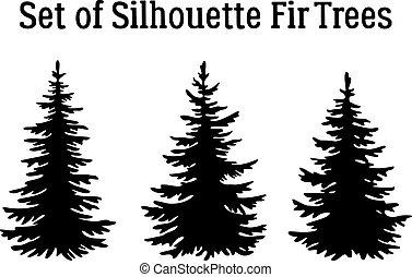 árvores natal, silhuetas, abeto