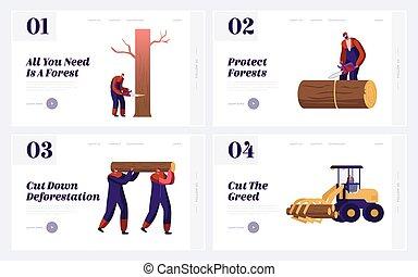 árvores, página, deforestation, vetorial, trabalhando, profissional, aterragem, caricatura, logger, floresta, log, ocupação, trabalho, banner., lumberjacks, empregados, teia, colher, ilustração, apartamento, corte, site web, set.