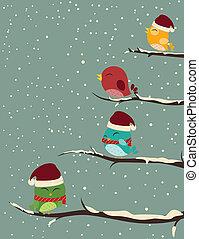 árvores., pássaros, cena inverno
