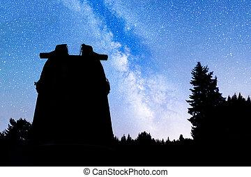 árvores pinho, silueta, meio leitoso, observatório
