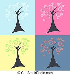 árvores, quatro estações, primavera, verão, outono, inverno, illus