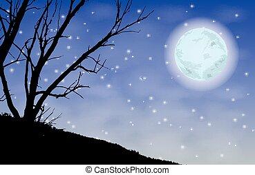 árvores, silueta, noturna, moon., ilustração