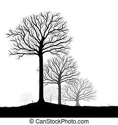 árvores, silueta, vetorial, arte