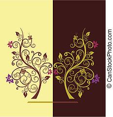 árvores, vetorial, desenho, ilustração, florescendo, 4