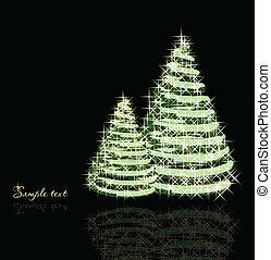 árvores., vetorial, natal, fundo