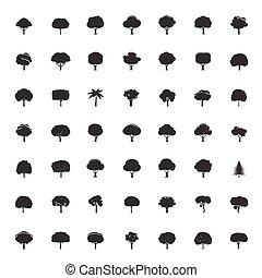 árvores., vetorial, pretas, cobrança, icons.