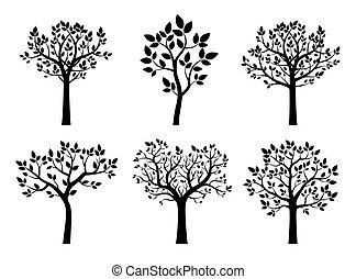 árvores., vetorial, pretas, illustration., cobrança