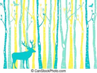 árvores vidoeiro, floresta, com, rena, vetorial