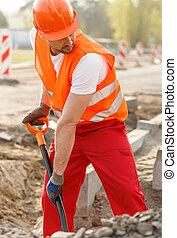ásás, egy, kilyukaszt