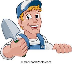 ásó, farmer, kertész, kert, ezermester, karikatúra