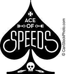 ás, de, speeds, motocicleta, ou, corrida carro, vetorial, desenho